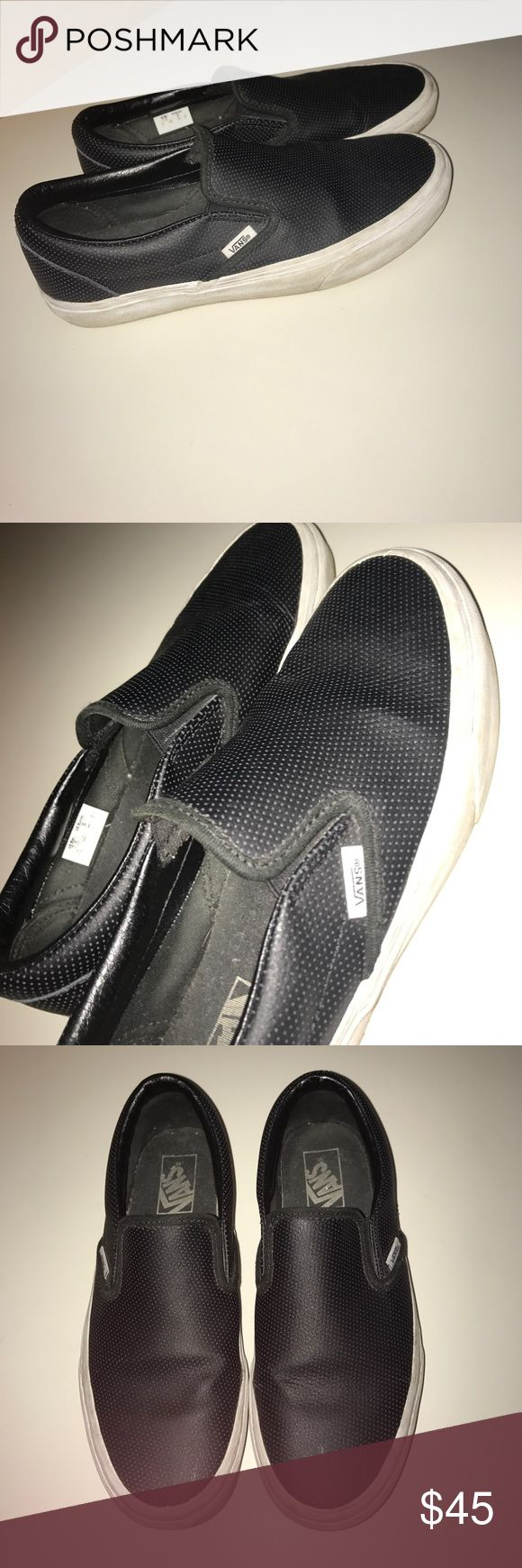 Leather vans slip on shoes These are super comfy black leather Vans slip on shoes.  I would wash & clean before shipping out. Very good condition, no tearing. Vans Shoes Sneakers