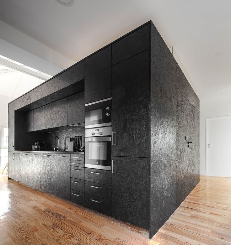 Plywood painted black. What a great looking and functional unit