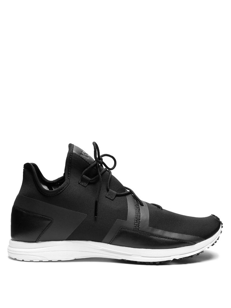 Y-3 Arc RC low-top neoprene trainers 255 EUR. Y-3 favours a directional approach to design, as evidenced by these black neoprene Arc RC trainers. They have a sleek low-top shape that's inspired by classic running styles, and are given an avant-garde slant with contrasting leather and TPU trims and an asymmetric lace-up front. A white textured-rubber sole provides a sturdy grounding.