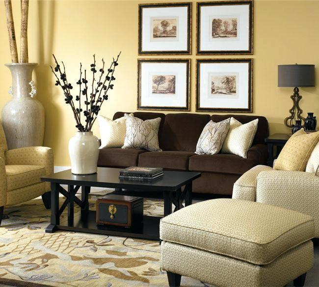 Wandfarbe Mit Brauner Couch Dekoration Ideen Brown Living Room Decor Yellow Living Room Brown Furniture Living Room
