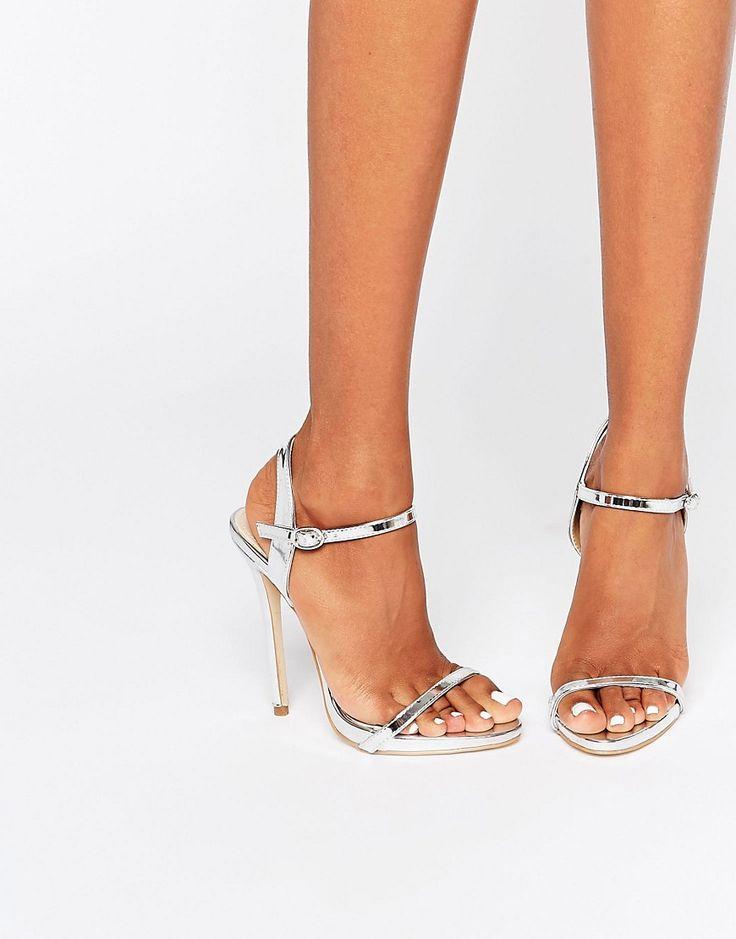 Изображение 1 из Серебристые сандалии на каблуке с ремешками Public Desire…