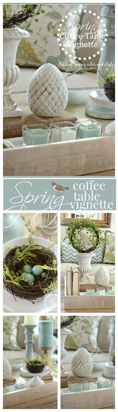 SPRING COFFEE TABLE VIGNETTE- adding a little spring color for big decor WOW-stonegableblog.com