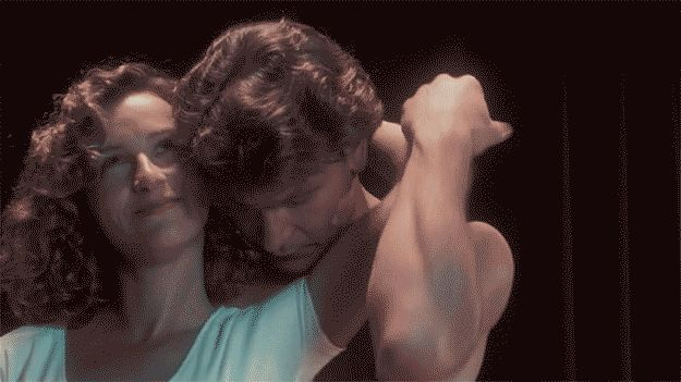 This scene was not staged. Jennifer Grey was super ticklish and Patrick Swayze was super fed up.