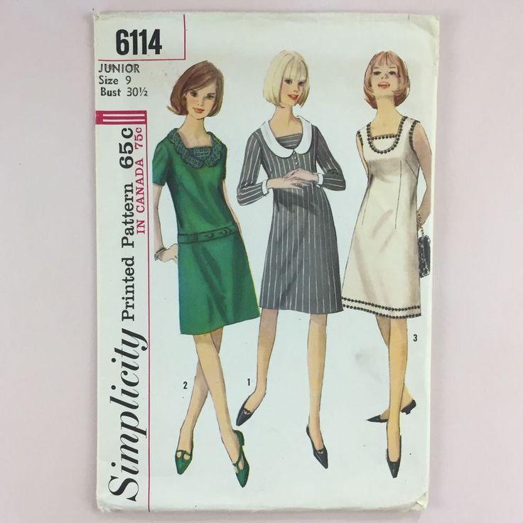 Vtg 1960s Simplicity 6114 Pattern Juniors Detachable Collar Dress Sz 9 Bust 30.5