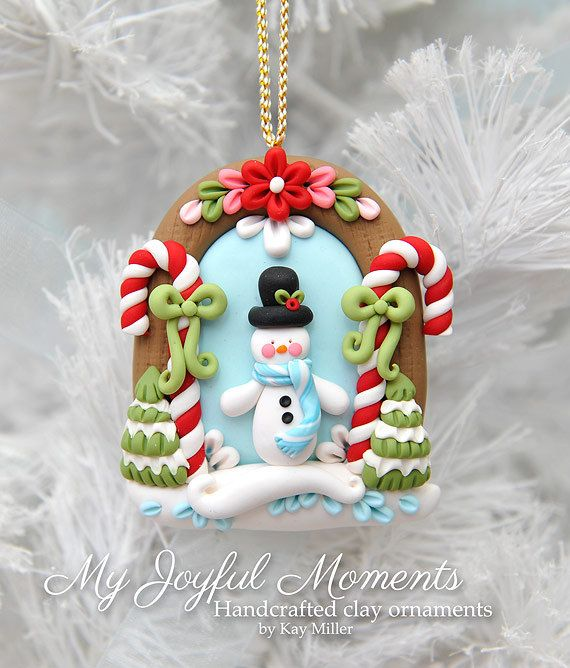 Handcrafted Polymer Clay Winter Snowman Scene Ornament