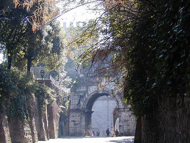 The Porta San Sebastiano, one of the gates of the Aurelian Walls, and the start of the Via Appia. The Appian Way was one of the earliest and most important roads of the ancient republic, connecting Rome to Brindisi in southeast Italy. It was the first major road built to transport troops outside Rome; this was important as standing generals could not legally bring troops into Rome itself. The road became dotted by tombs, funerary monuments, and catacombs, as burials had to be outside the…
