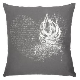 Heart Aloe Cushion Cover – White on grey | Buy Online in South Africa | MzansiStore.com