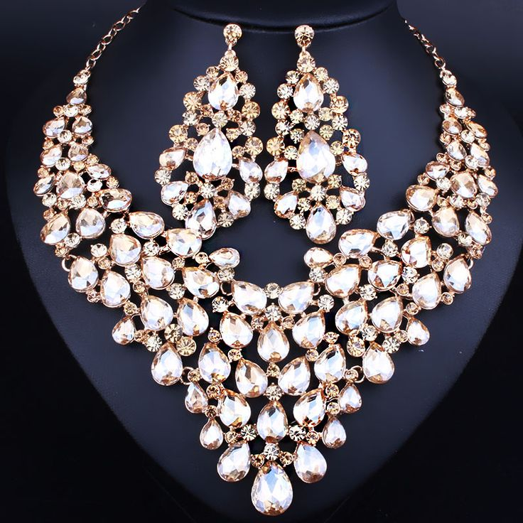 Elegant Water Drop Statement Necklace Earrings for Women Fashion Indian Bridal Jewelry Sets