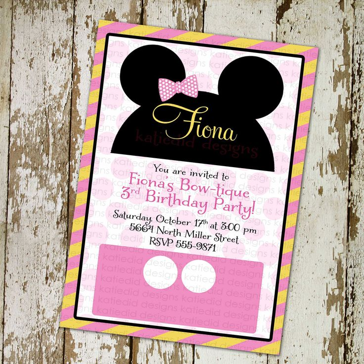 Minnie Mouse Birthday Invitation Disney Bow Tique Stripe Mickey   Free  Customizable Printable Baby Shower  Free Customizable Printable Baby Shower Invitations