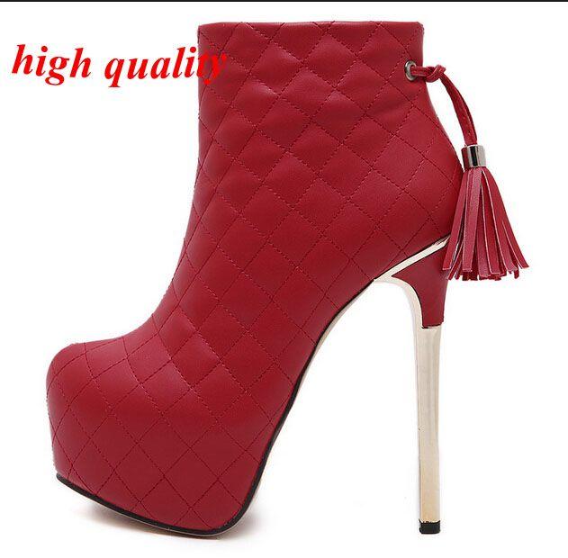 Женщины меховые сапоги зима снег кисточки женщин туфли на высоком каблуке дамы ботильоны женские свадебные туфли женщины сапоги на каблуках Y681