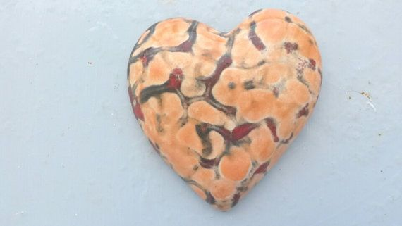 Home Decor Big Orange and Red Handmade Ceramic Heart by WillyaCollection on Etsy.