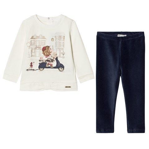 Mayoral White Girl on Scooter Tee and Navy Leggings Set