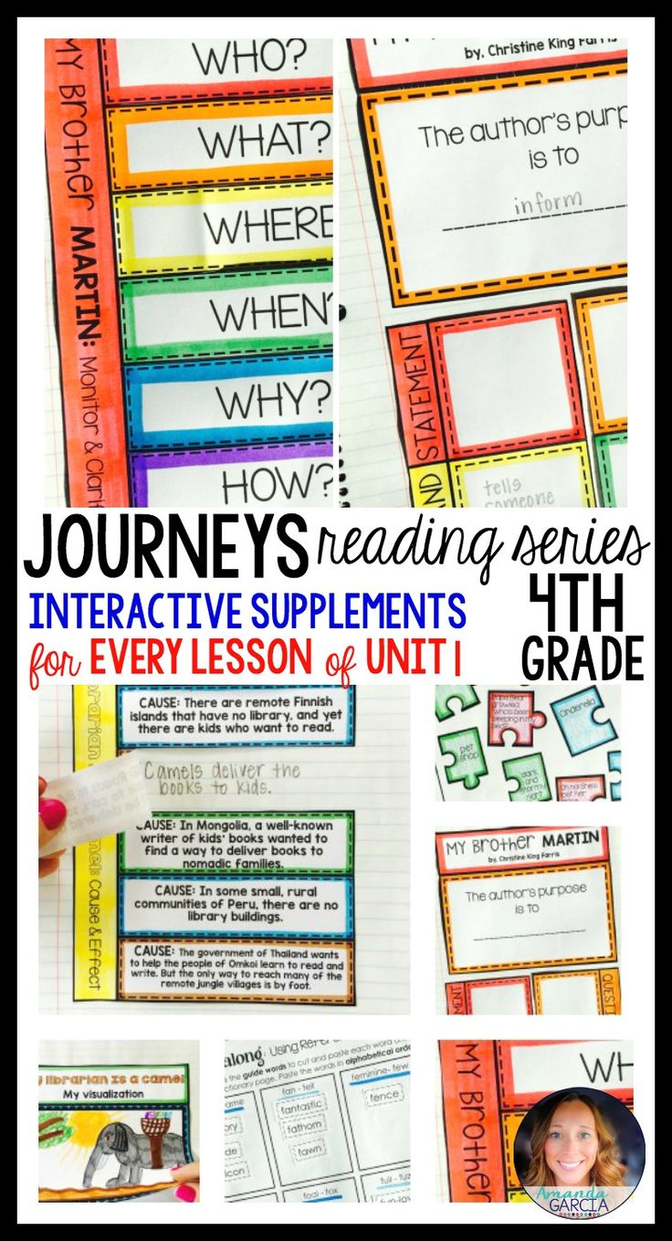 Students LOVE these FUN interactive notebook supplements and printable worksheets! This unit is aligned to the Journeys reading series for fourth grade. Stories are: Because of Winn Dixie, My Brother Martin, My Librarian is a Camel, The Power of WOW, and Stormalong.