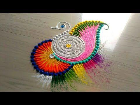 How to make rangoli designs /5 minutes easy & simple rangoli designs jyoti Rathod - YouTube