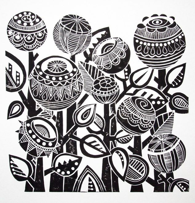 Night Garden Lino Print By JoolsYasities On Etsy 3923