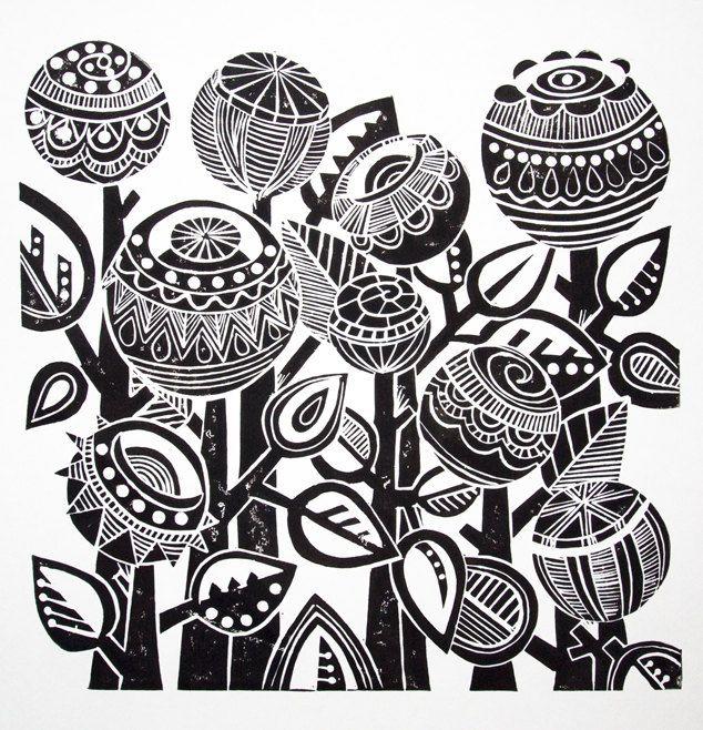 Night Garden Lino Print by JoolsYasities on Etsy, $39.23