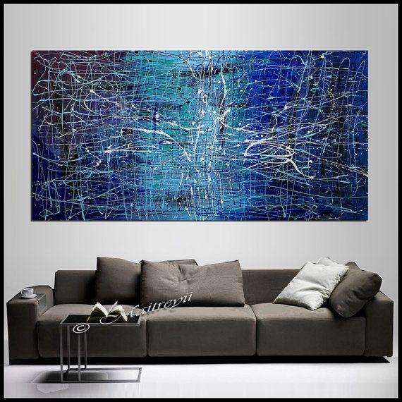 Astratta pittura grande acrilico arte blu smeraldo opera