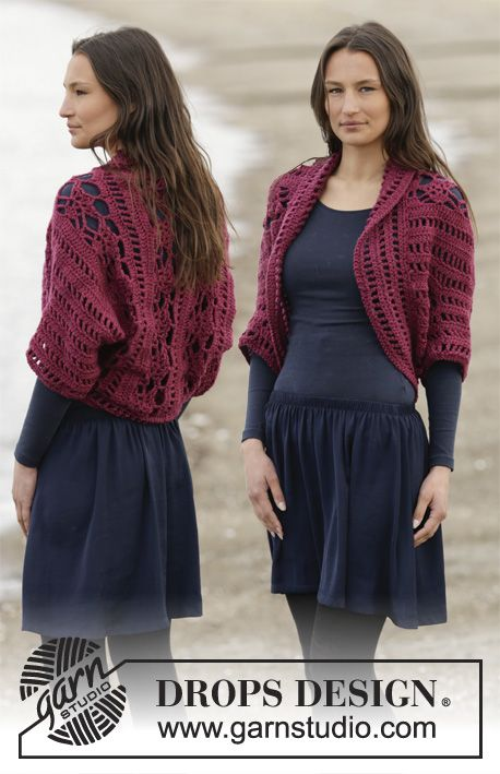 Holly Berry Shrug By DROPS Design - Free Crochet Pattern - (garnstudio)