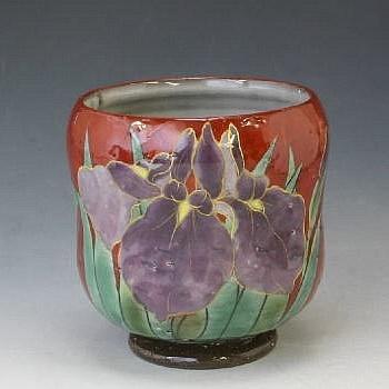 ayame yunomi (iris japanese tea cup)