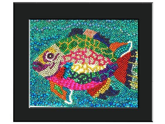 Custom 16 x 20 Rainbow Fish Mardi Gras Bead Mosaic Framed Wall Art. $135.00, via Etsy.