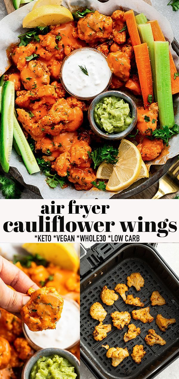 Air Fryer Buffalo Cauliflower Wings Wings Keto Whole30