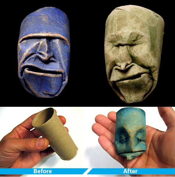 toilet roll tube faces: Toilets Paper Tube, Idea, Paper Rolls Crafts, Toilet Paper Rolls, Faces, Toilets Paper Rolls, Toilets Rolls Art, Toilets Paper Art, Paper Rolls Art