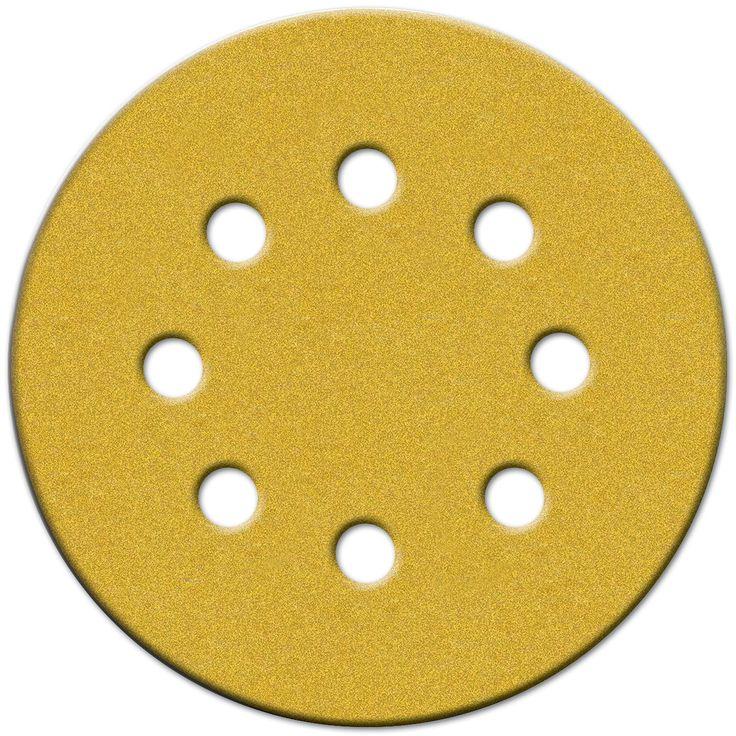 """Norton 49218 5"""" 220 Grit Hook & Loop Sanding Discs With 8 Holes 25-count"""
