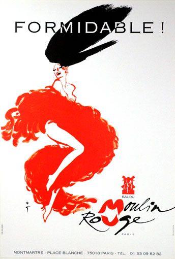 Rene Gruau art | moulin rouge # vintage # poster # formidable