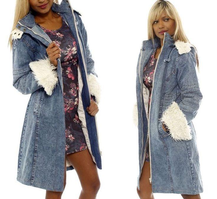 Neu Langer Jeansmantel Parka Jacke Mantel Jeans blau weiß Zottelfell M L Kapuze. Buy it now http:www.fashion-darling.de