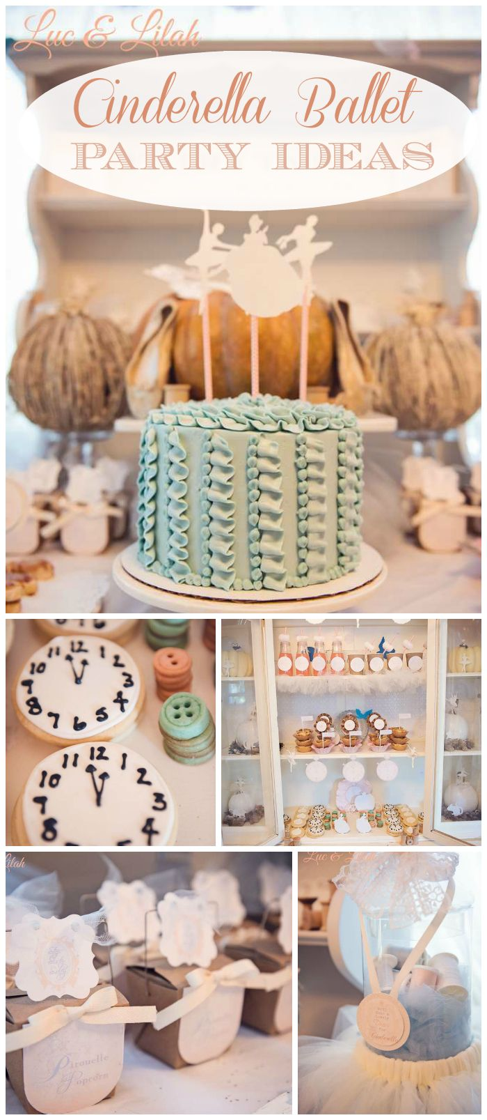 A Cinderella ballet girl birthday party with enchanted pumpkins, twirling ballerinas, and vintage spools! See more party planning ideas at CatchMyParty.com!