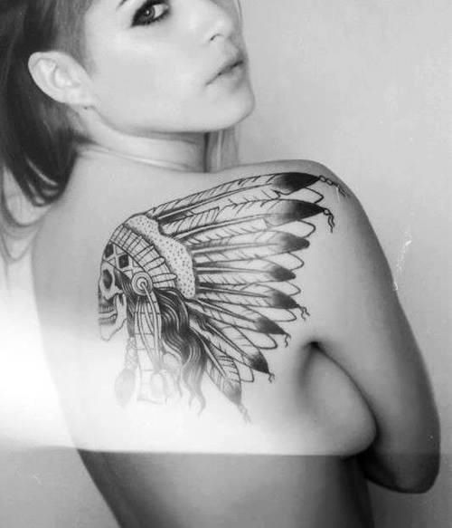 American woman tattoos native
