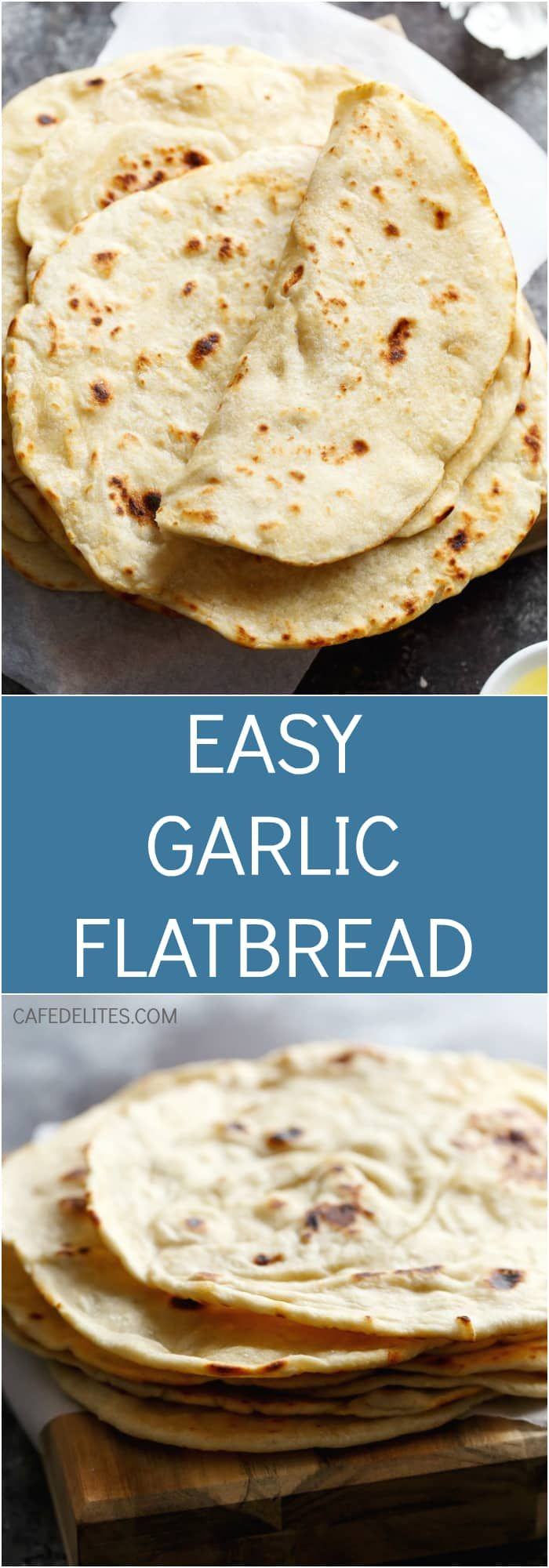 An incredibly easy flatbread recipe with a subtle kick of garlic for extra flavour! | https://cafedelites.com