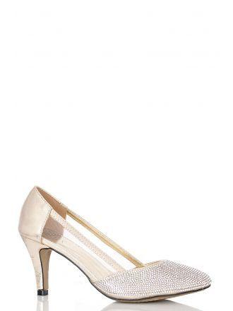 Gold Diamante Low Heel Court Shoes