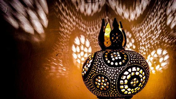 100% HANDMADE Gourd lamp art deco handcrafted Ottoman Turkish