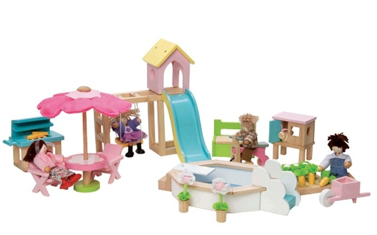 Give any doll's house a garden full of fun with this scaled down play area that comes complete with a slide, swing, parasol, pool and more.