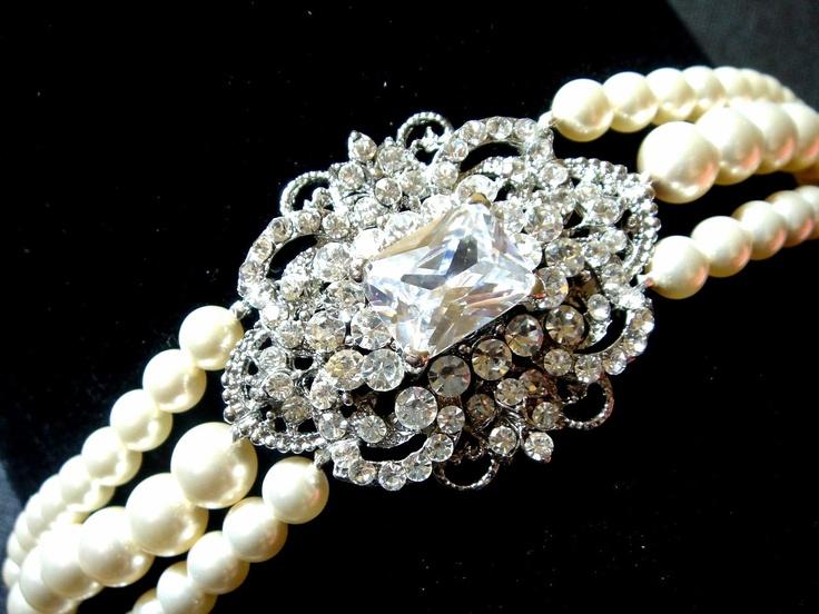 Vintage Swarovski Pearl CuffCuffs Bracelets, Vintage Swarovski, Swarovski Pearls, Vintage Bracelets, Pearls Cuffs, Vintage Inspiration, Art Deco, Bridal Bracelets, Vintage Style