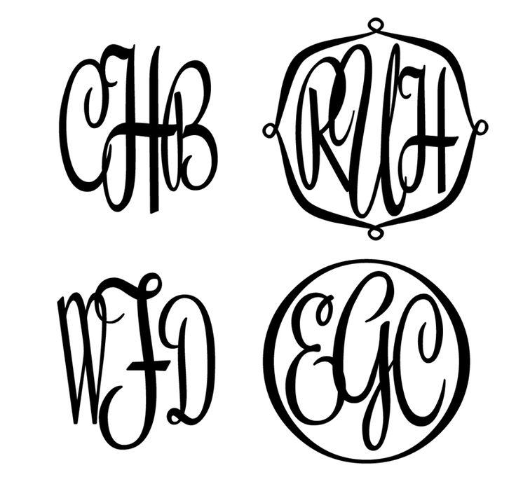 Unique three letter script monogram stencil decor for Large monogram letter stencil