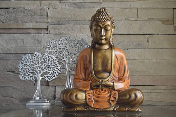 Big Buddha Sculpture In Resin Finished Bronze Orange Handmade Buddha Sculpture Buddha Big Buddha