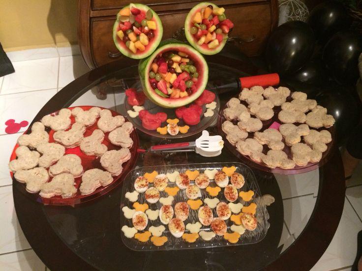 Disney gender reveal party fruit/sandwich table