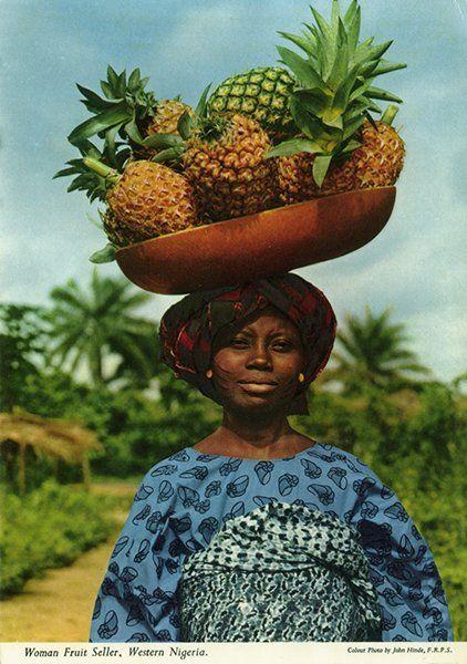 Pineapple seller?: Woman fruit seller in West Nigeria