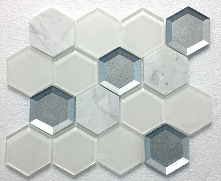 Mozaika Kamienno Szklana MAR 01 hexagon - Mozaika szklana, złota, srebrna, czarna, biała, fioletowa, czerwona, basenowa, kamienna, mozaiki szklane
