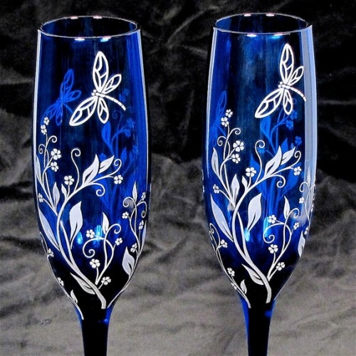 Engraved Wedding Champagne Flutes, Dragonfly Wedding Decor