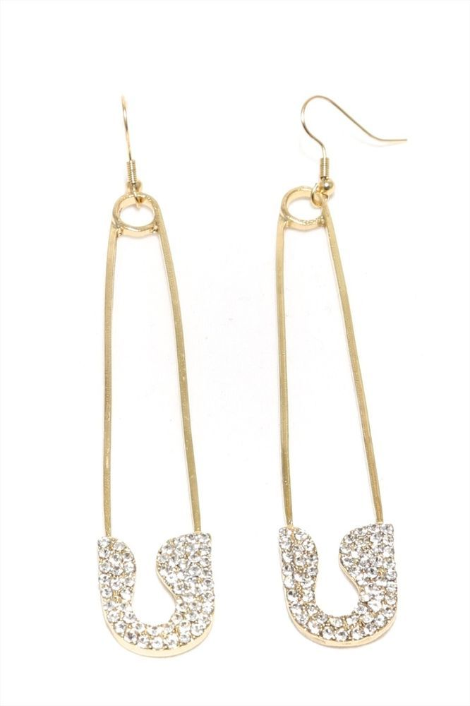 E.M. crystal pin earring - Metallic bc5bgOp4F