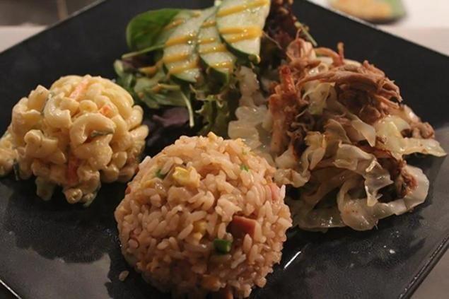 Kalua pig with macaroni salad at Onomea, a Hawaiian restaurant in Brooklyn
