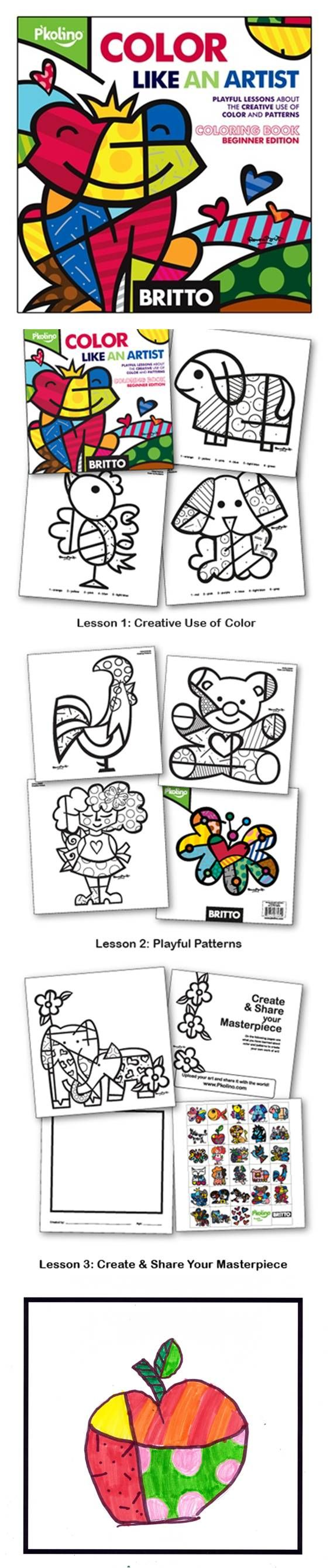 This playful coloring book teaches children about colors & patterns through the vibrant art & instruction of pop artist Romero Britto! Includes 28 full colors stickers! Made in the USA! $9.99 www.pkolino.com #pkolino #britto #madeinamerica