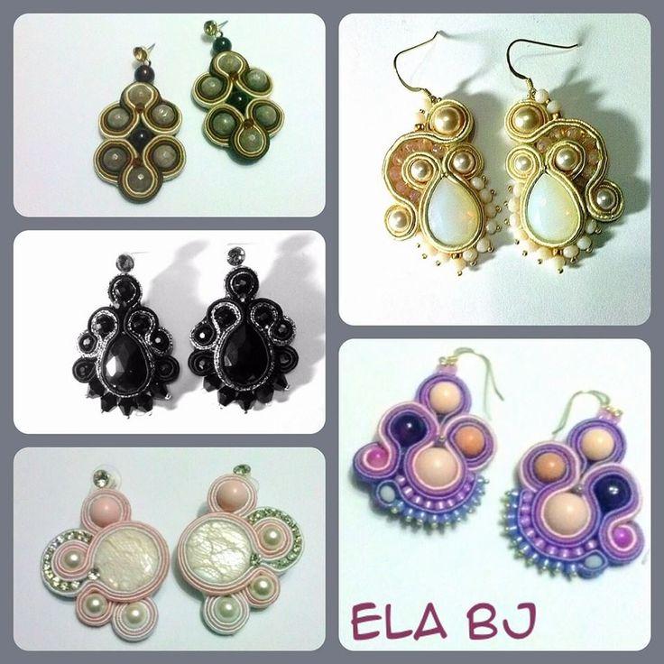 orecchini soutache, pietre e cristalli