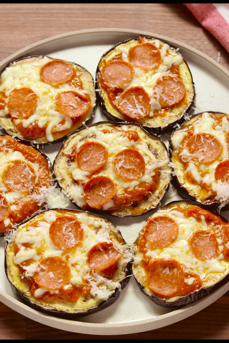 Best Eggplant Pizza Bites Recipe - Delish.com--With pizza on a veggie, you can have pizza anytime!