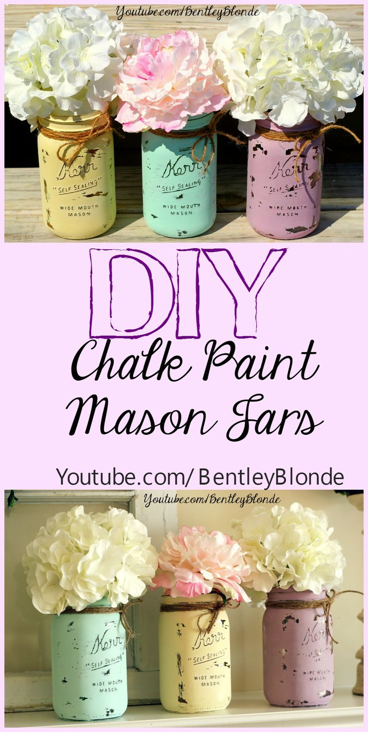 DIY Chalk Painted Mason Jars for Spring!