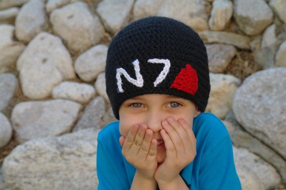 N7 Mass Effect Beanie Adult size by MyEpicYarn on Etsy, $20.00