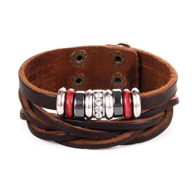 Beads Charm Cuff Leather Bracelet